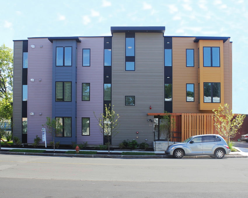 Multi Colored Commercial Apartment Complex with professional installment and replacement of fiber Cement Siding