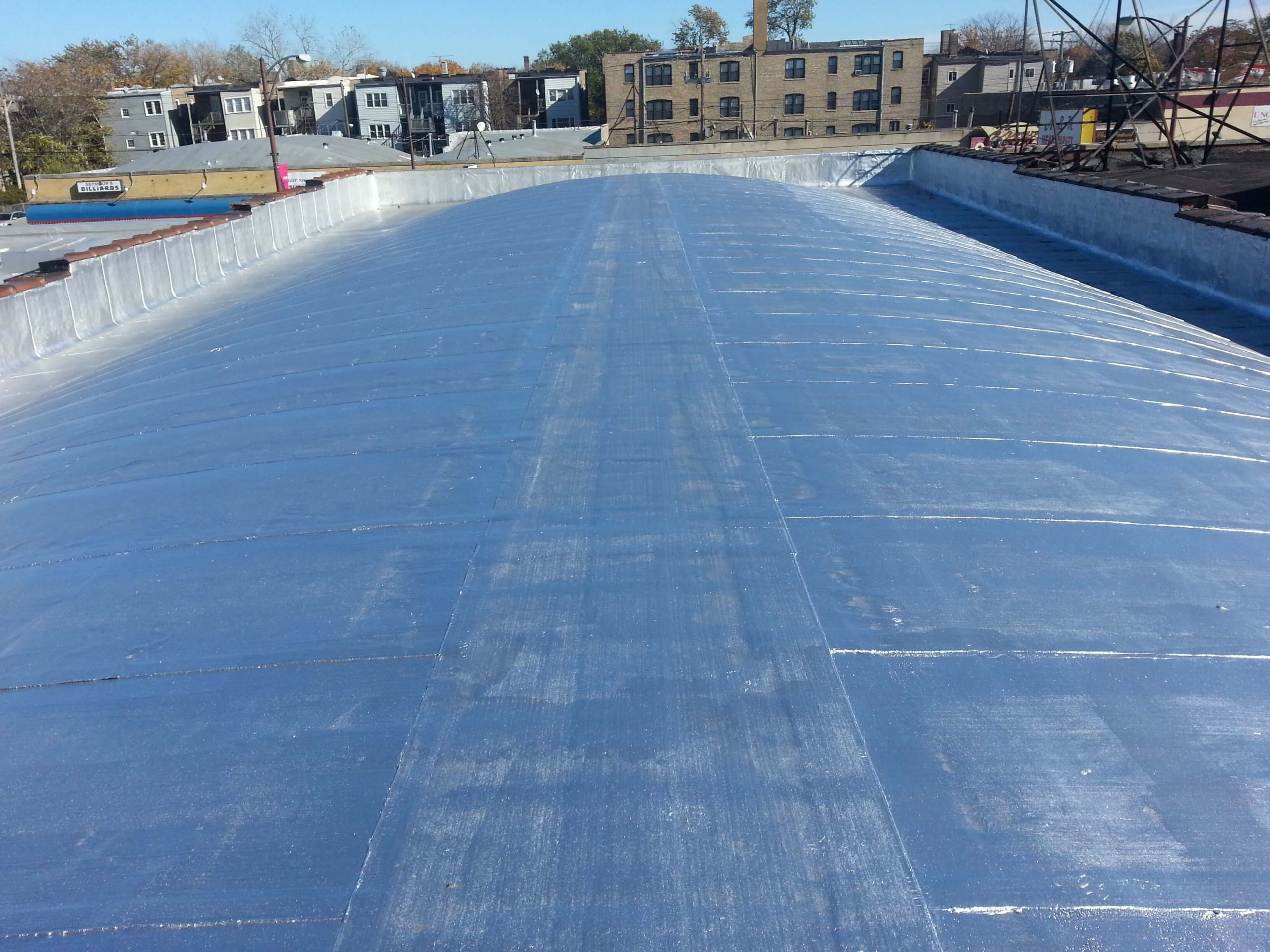 Commercial Modified Bitumen Barrel Flat Roof installation and replacement for Commercial Property