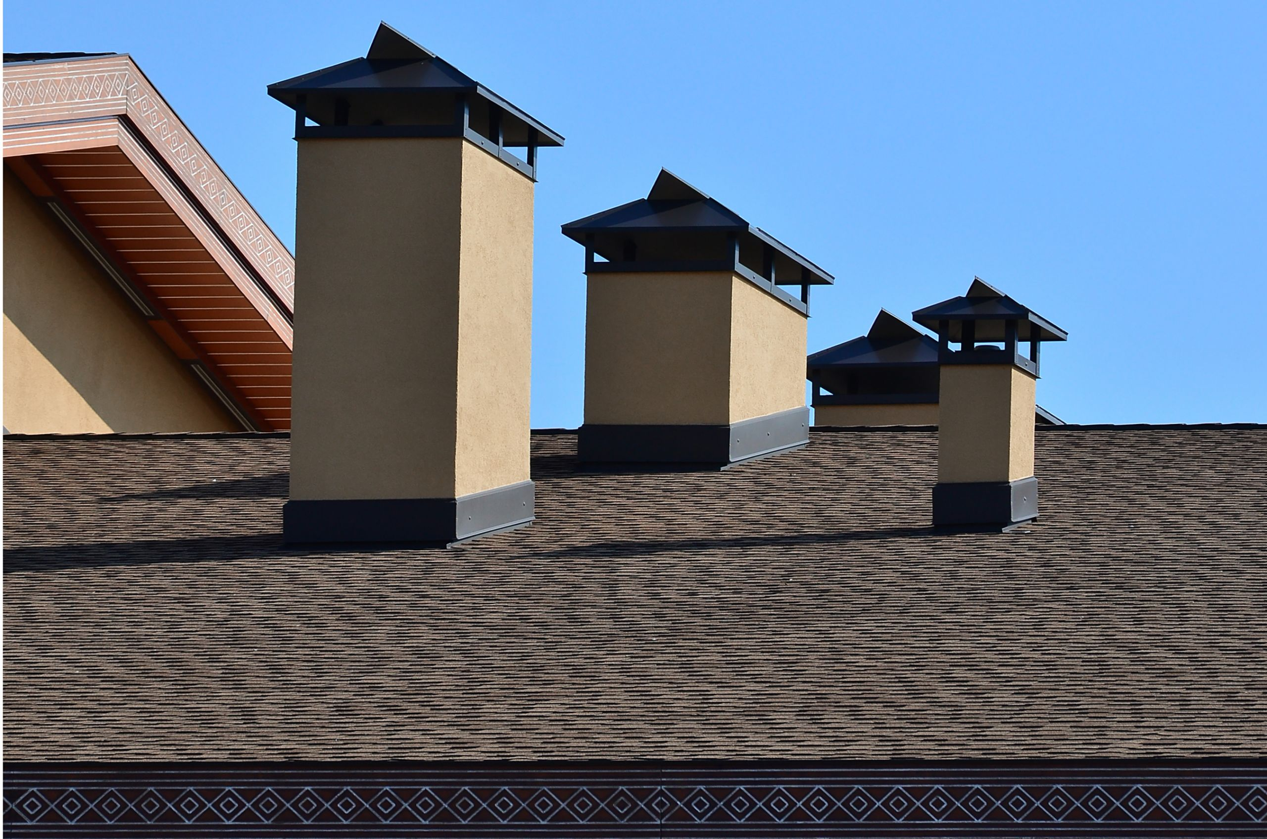 Close up of Asphalt shingle roof installation and replacement for commercial property